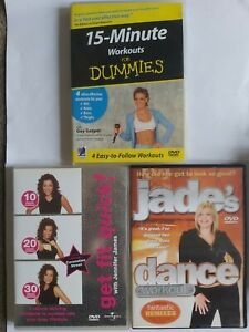 Set Of 3 Exercise DVDs : Jade's Dance, Get Fit Quick, 15 Minute Workouts