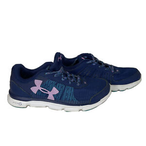 UA UNDER ARMOUR Womens 5Y Micro G Assert Fitness  Running Shoes Pink Blue Purple