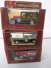 Lot of 3 Matchbox Models of Yesteryear 1930 Model A Y-21, 1918 Crossley & 1930 M