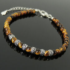 Men's Women Bracelet 4mm Brown Tiger Eye Sterling Silver Beads Clasp Link 1318