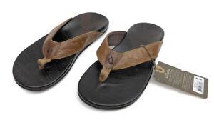 OluKai Men's Hikianalia Leather Flip Flop Sandals Tan Java Size 8