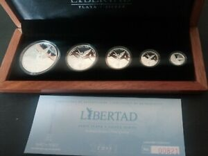 2011 silver libertad 5  coin proof set with original cert and box mintage 1000
