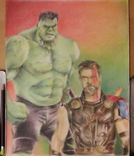 Original 11x14 color pencil drawing of Thor & Hulk done by ARTuro