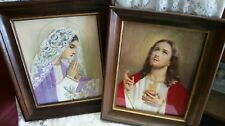 Jesus Sacred Heart Mary Die Cut Paper Ribbon Lace Fabric Art Framed 3D Pictures