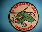 VIETNAM WAR PATCH, US B Co. 228th ASSAULT HELICOPTER BATTALION  LONG HORNS