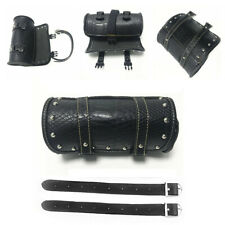Motorcycle Front Fork Roll Barrel Tool Bag Pouch Luggage SaddleBag PU Leather