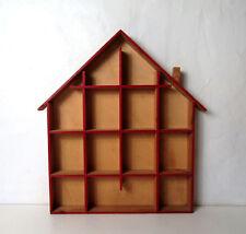 étagère Maison à bibelots rouge vintage design scandinave 50x46cm