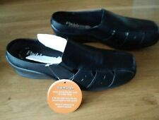 Ladies Black Leather Wide Fitting Mules by Padders - Size 7 Dual Fit E/EE -Vicky