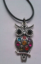 Retro Vintage Multi Coloured Rhinestone Owl Pendant Medium Necklace UK Seller