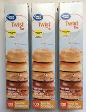 LOT OF 3 Great Value Twist Tie Food Bread Bags Extra Large Clear 1 Gallon 100 Ct