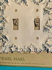 Vintage Decorative Pearl Maid Two Light Switch Wall Plate with Blue Trim