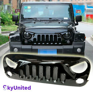Fits Jeep Wrangler 2007 to 2017 JK Front Grill Skull Style Grille Gloss W/Mesh