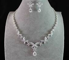 BUTTERFLY CZ CUBIC ZIRCONIA CRYSTAL RHODIUM PLATE NECKLACE EARRINGS SET CZ1833