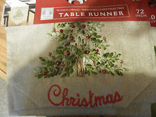 "New Winter Wonderland ""Merry Christmas"" Holiday Tree Linen 72"" Table Runner"