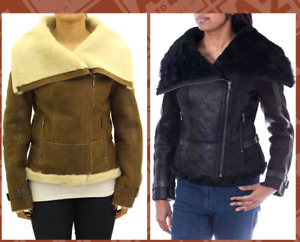 Womens Aviator Large Collar Shearling Sheepskin Biker Jacket in Black or Tan
