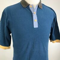 THE TERRITORY AHEAD SHORT SLEEVE BLUE YELLOW COTTON POLO SHIRT MENS SIZE M