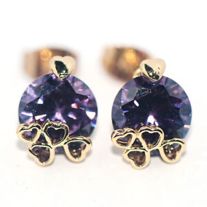 Sparkling Purple Crystal Flower Stud Earrings Gold Jewely for Womens Ladies