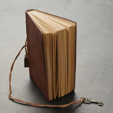 Hot Leather Cover Blank Diary Travel Journal Memo  Key Decor New Dark Coffee