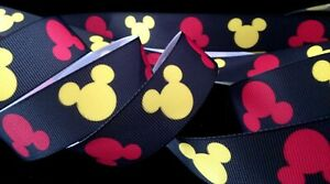 1 inch MICKEY Mouse ears head Disney grosgrain black RIBBON - 1 yard yellow red