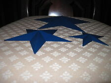 Set of 3 Royal Blue Barn Stars Metal Primitive