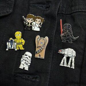Star Wars Enamel Pin Badge, Chewbacca Leia Han Solo R2-D2 C-3PO Stormtrooper
