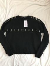GUESS Womens XS Sweater Black NWT Edgy Punk Silver Hardware