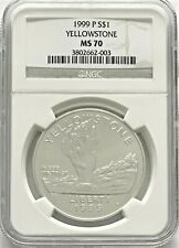 1999 P Silver Yellowstone National Park Commemorative Silver Dollar NGC MS70