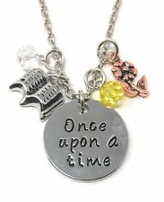 925 Silver Plt 'once Upon a Time' Beauty and The Beast Rose Book Necklace D