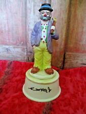 Flambro Emmett Kelly Jr. Ekj signed Clown Figurine Hobo Music box