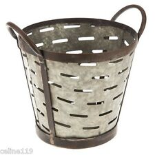 Galvanized Rustic Metal Olive Bucket  with Handles.Shabby Chic Decor.New!
