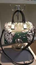 Rebecca Minkoff Leaf Pattern Leather Satchel Shoulder Bag Purse os