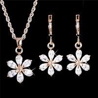 Vergoldete Schmuck Strass Blume Anhänger Halskette Ohrringe Schmuck-Set YR