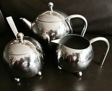Lovely Quality English Stainless Steel Designer Teapot, Creamer & Sugar Bowl Set