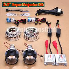 """2.5"""" LED Dual Angel Eye AC 35W Super HID BI-Xenon Projector Headlight Kit F2Y"""