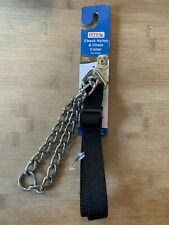 "PETCO Black Check Nylon & Chain Dog Collar 1"" Width Large Dogs 44-110 lb NEW"
