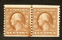 US Stamps # 495 4c Washington Coil Line Pair XF OG NH