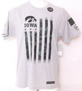 NEW Iowa Hawkeyes Gray Camo Colosseum OHT Flag Cartridge SS Tee Shirt Men's L