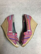 Toms Womens Pink Striped Wedge Jeel Espadrilles Shoes Peep Toe Size Sz 8.5