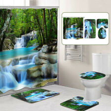 Bathroom Shower Curtain Nature Scenery Toilet Mat Rug with Hooks Waterproof