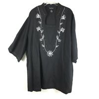 Maggie Barnes Plus Size 22/24 Tunic Black Gold Embroidered Linen 3/4 Sleeve Top
