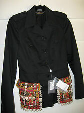 NEW ALEXANDER MCQUEEN $4,970 MOROCCAN EMBROIDERED BLACK COTTON TWILL JACKET 42