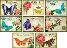 Vintage inspired Roses post card butterfly cards set of 8 with envelopes