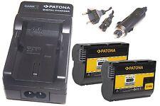 2 x Akku EN-EL15 Patona + Ladegerät für Nikon D7100  Body / EN-EL15