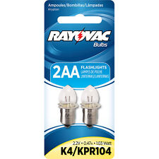 Rayovac K4-2 (KPR104) Krypton Bulb Flanged Base for 2 cell AA flashlight - 2 PK