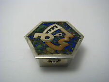 TAXCO MIXED METALS STERLING SILVER PILL BOX PILLBOX MOSAIC by Flores Mexico 1950