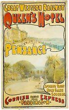 Vintage Rail travel railway poster  A4 RE PRINT Queens Hotel Penzance