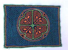 "Unique Shipibo Art Hand Embroidered Ayahuasca Textile 14.5"" X 11"""