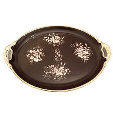 New ListingVintage Porcelain Maroon Color Vanity Tray