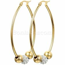 Stainless Steel 33mm Big Hoop Circle Rhinestone Charms Womens Gold Tone Earrings