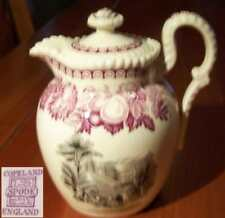 Copeland Spode Black and Pink or Red Old Transferware Small Tea or Water Pot
